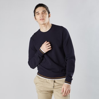 Textured Sweatshirt with Round Neck and Tipping Detail