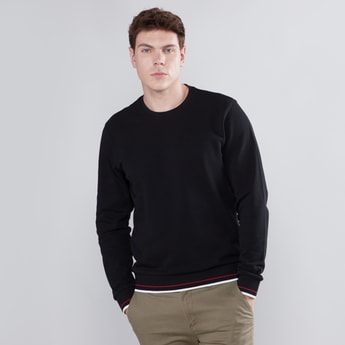 Tipping Detailed Sweatshirt with Round Neck and Long Sleeves