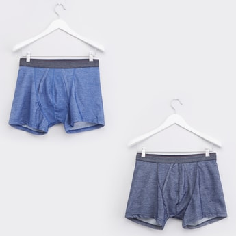 Set of 2 - Textured Trunks with Elasticated Waistband