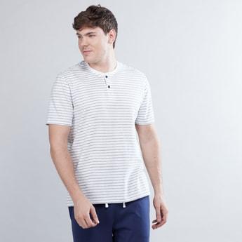 Striped T-shirt and Full Length Pyjamas with Drawstring Closure