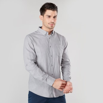 Plain Long Sleeves Shirt with Chest Pocket and Spread Collar