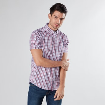 Chequered Shirt with Short Sleeves and Button Down Collar