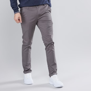 Solid Skinny Fit Chinos with Pockets