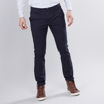 Solid Slim Fit Full Length Chinos