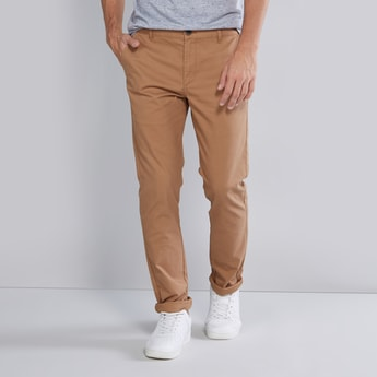 Slim Fit Plain Chinos with Pocket Detail and Belt Loops