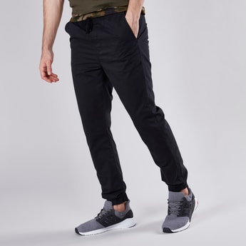 Solid Jog Pants with Drawstring Waistband and Pockets