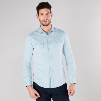 Striped Collared Shirt with Flap Pockets