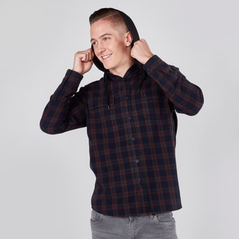 Checked Hooded Shirt with Long Sleeves and Pocket Detail