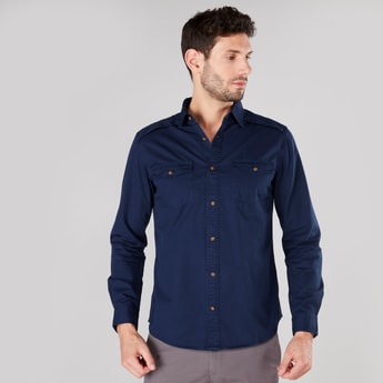 Printed Button Through Shirt with Long Sleeves and Pockets