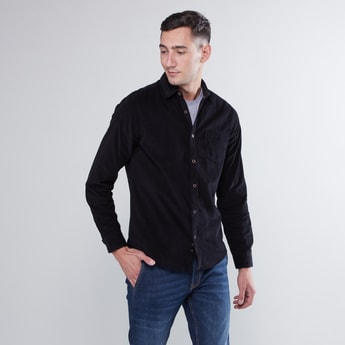 Slim Fit Textured Shirt with Long Sleeves