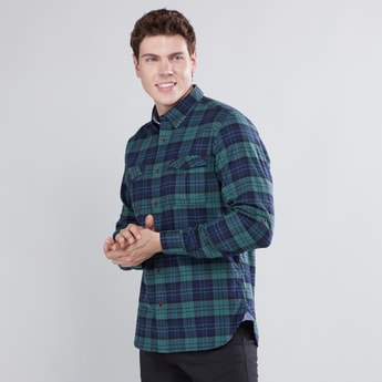 Chequered Shirt with Long Sleeves and Flap Pockets
