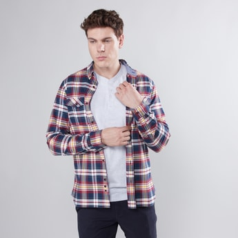 Chequered Button Through Shirt with Long Sleeves and Pocket Detail