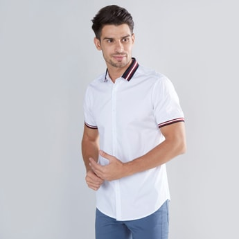 Solid Slim Fit Shirt with Contrast Striped Collar and Short Sleeves