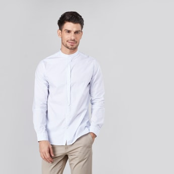 Slim Fit Printed Shirt with Mandarin Collar and Long Sleeves