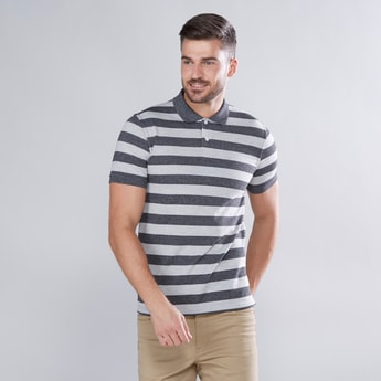 Slim Fit Striped T-shirt with Polo Neck and Short Sleeves