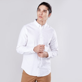 Solid Oxford Shirt with Button-Down Collar and Long Sleeves