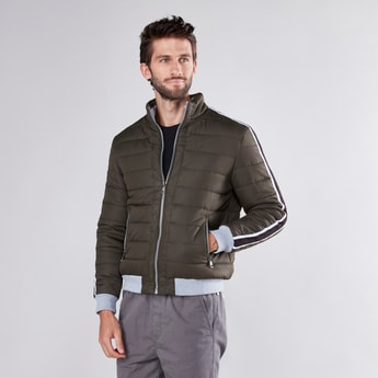Quilted Jacket with Tape Detail Long Sleeves and Pockets