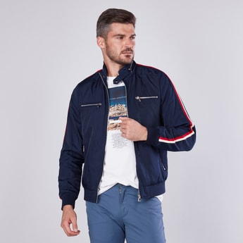 Solid Bomber Jacket with Striped Tape Detail