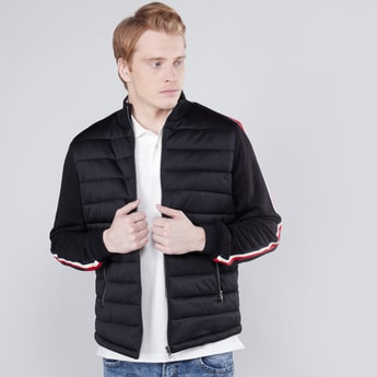 Quilted Bomber Jacket with Long Sleeves and Tape Detail