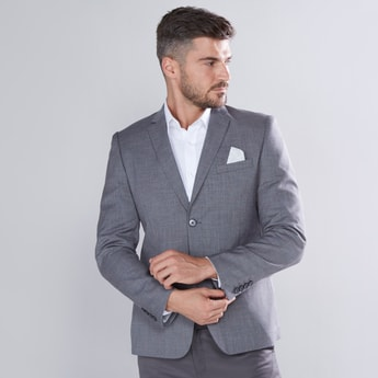 Plain Blazer with Notched Lapel and Long Sleeves