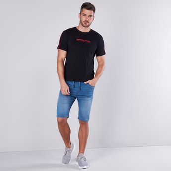 Slim Fit Printed Round Neck T-shirt with Contrast Tape Detail