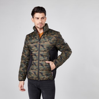 Camouflage Printed Puffer Jacket with Long Sleeves and Zip Closure