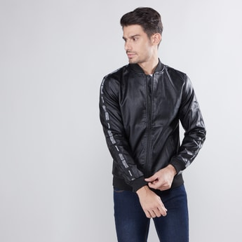 Textured Long Sleeves Jacket with Tape Detail and Zip Closure
