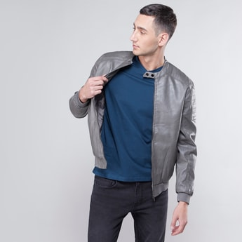 Textured Biker Jacket with Long Sleeves and Pocket Detail