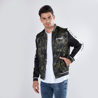 Camo Print Bomber Jacket with Long Sleeves