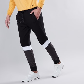 Slim Fit Colour Block Mid Waist Jog Pants with Elasticised Waistband