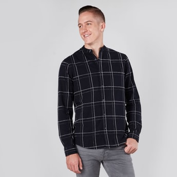 Slim Fit Checked Shirt with Mandarin Collar and Long Sleeves