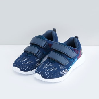 Textured Mesh Sports Shoes with Hook and Loop Closure