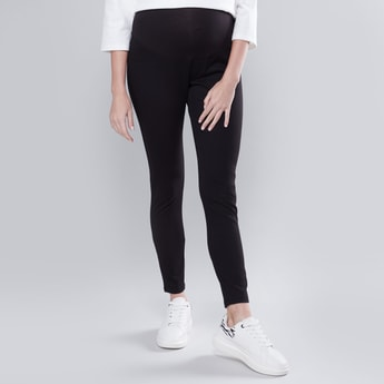 Skinny Fit Plain Mid Waist  Maternity Jeggings