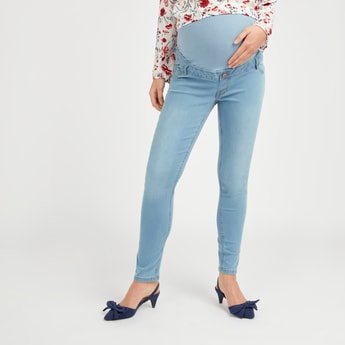 Skinny Fit Solid Mid-Rise Maternity Jeans with Pocket and Belt Loops