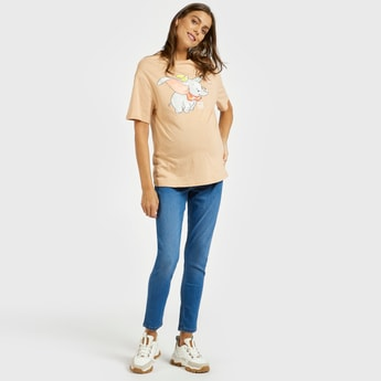 Solid Maternity Jeans with Belt Loops and Pocket Detail