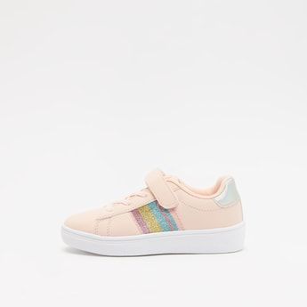 Glitter Accent Sneakers with Hook and Loop Closure