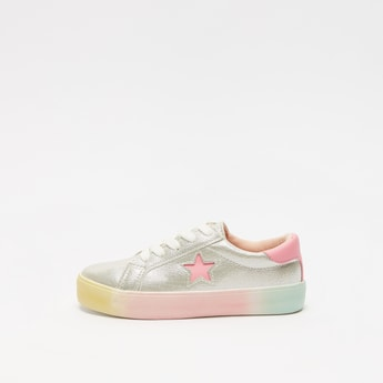 Textured Lace-Up Sneakers with Star Cut Detail