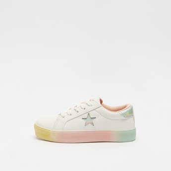 Solid Lace-Up Sneakers with Star Cut Detail and Glossy Backstay
