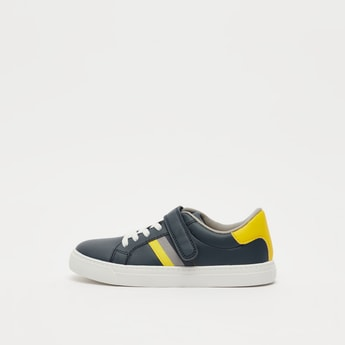 Panelled Shoes with Hook and Loop Closure