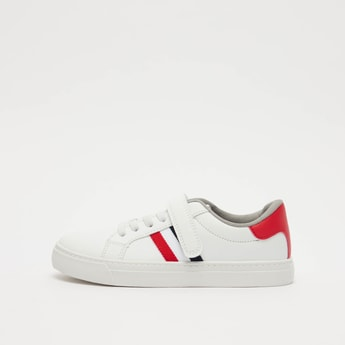 Stripe Detail Sneakers with Hook and Loop Closure