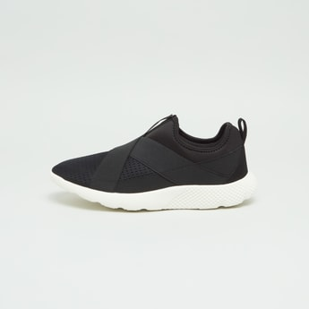 Textured Slip-On Sneakers with Cross Strap