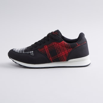 Chequered Lace-up Sports Shoes
