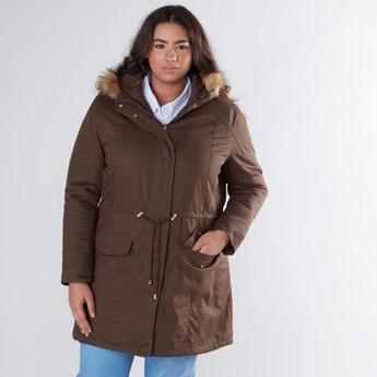 Solid Parka Jacket with Fur Embellished Hood
