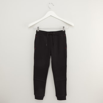 Panel Detail Jog Pants with Pockets and Drawstring Closure