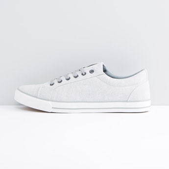 Textured Lace-Up Canvas Shoes