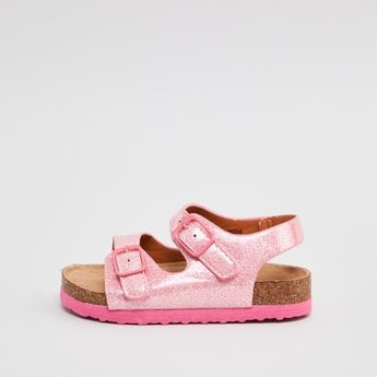 Glitter Sandals with Buckle Closure