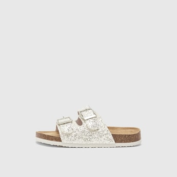 Glitter Accent Sandals with Pin Buckle Detail