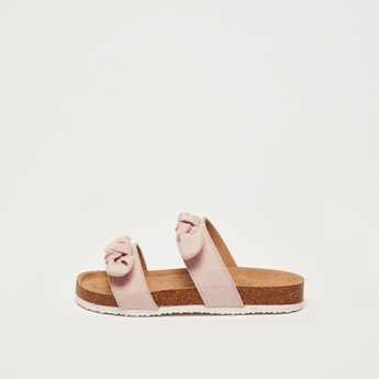 Dual Strap Slip-On Sandals with Bow