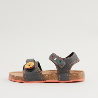 Textured Sandals with Button and Eyelet Detail