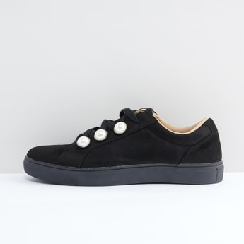 Lace-Up Shoes with Pearl and Stitch Detail